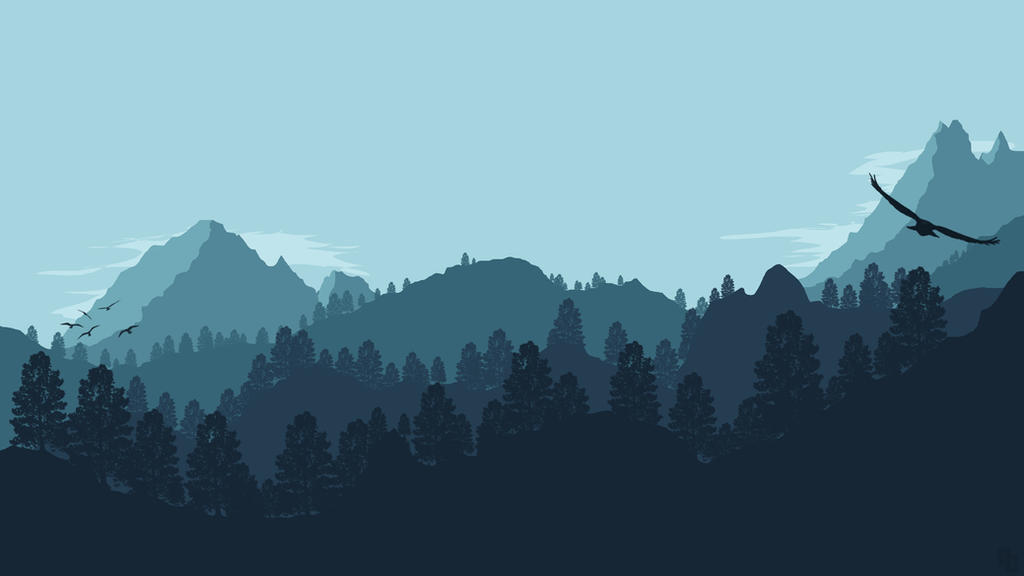Landscape 1 forest mountain by ncoll36 on deviantart for Deviantart minimal wallpaper