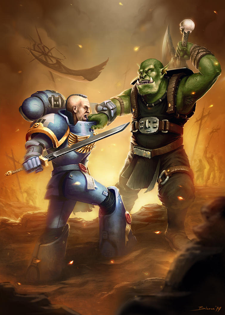 Games Workshop - Space Marine fighting an Ork by ChuchuaN