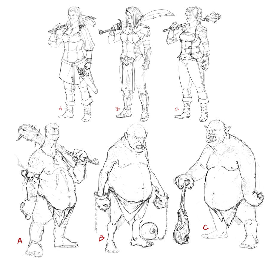 Ogres and Warriors sketch! by ChuchuaN
