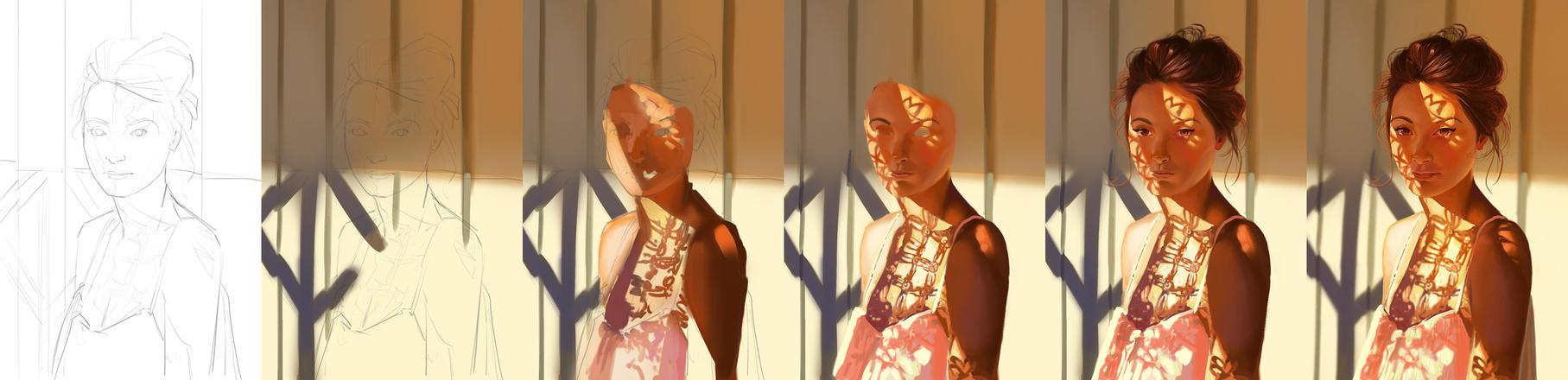 Girl under pattern - steps by ChuchuaN
