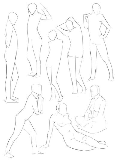 Gesture drawing 1 and 2 min poses by ChuchuaN