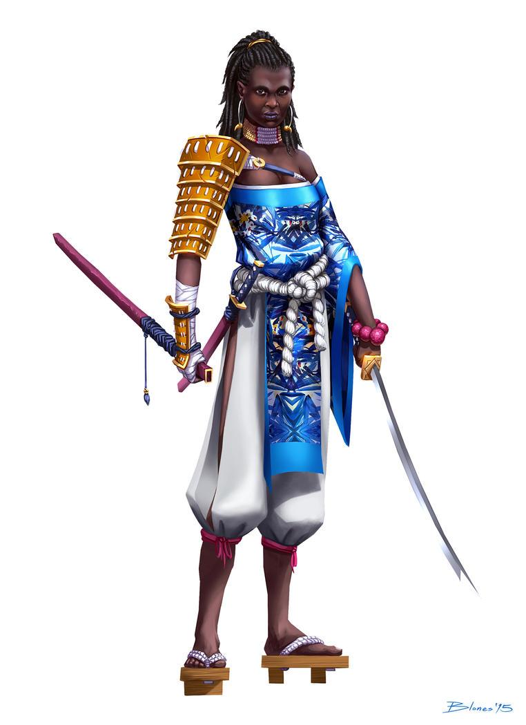 African-american female samurai by ChuchuaN