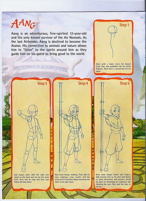 how to draw aang step by step