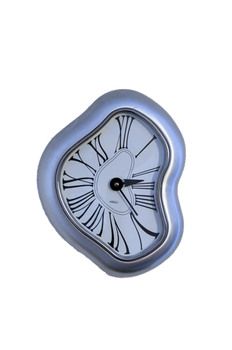 Warped Silver Clock-  PNG File - Rough-Cut