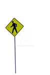A Yellow Man Walking Sign Stock Photo PNG