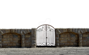 Iron Stone Gate at Beach PNG Stock Photo 0073