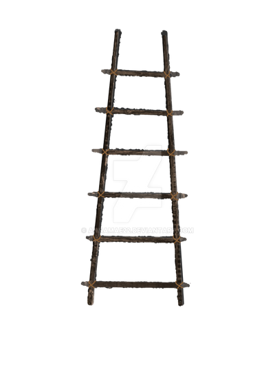 Old Wooden Ladder PNG Stock with ROPE LARGE