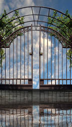 Iron Gate on the Lake Background Stock 48