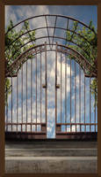 Iron Gate Blue Sky Background Stock 48 Framed by annamae22