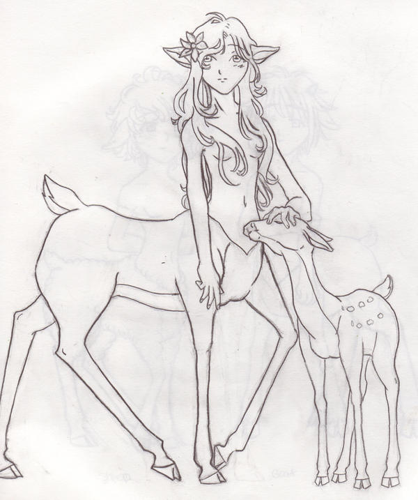 Drawing Lines In Dreamweaver : Deer centaur lady by littlelotte on deviantart