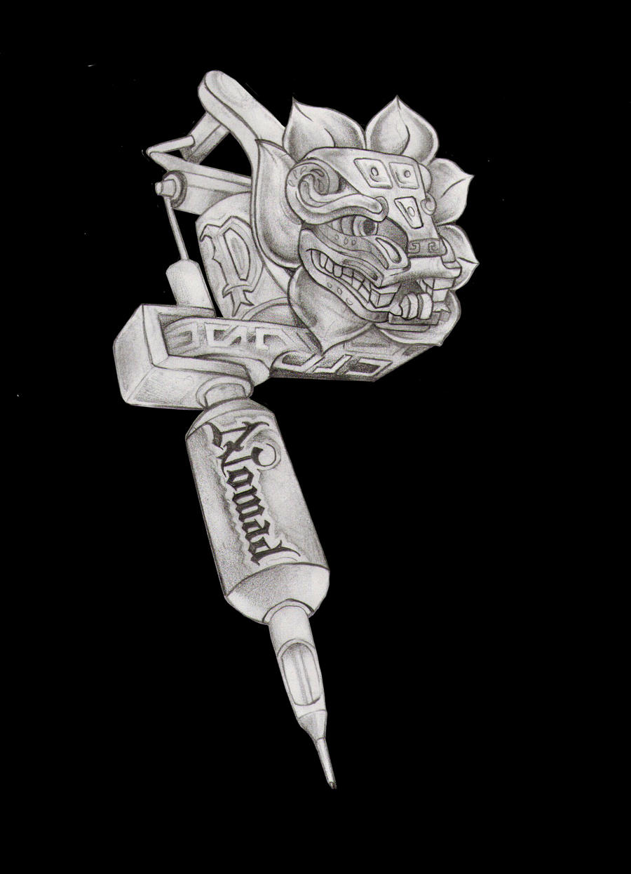 Tattoo Machine Line Drawing : Tattoo gun machine quetzalcoatl by nomadtic on deviantart