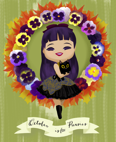 October is for Pansies by Ikupoo