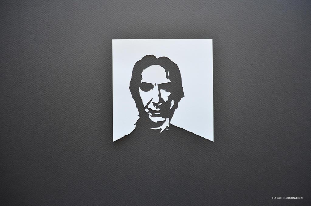 alan rickman portrait papercut