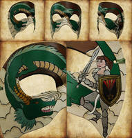 The Dragon and The Knight Leather Mask
