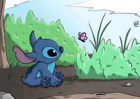 Stitch And Butterfly by vic5arch