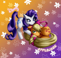 Rarity and Applejack Commission by Shaami
