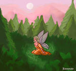 Fairy in the misty Forest