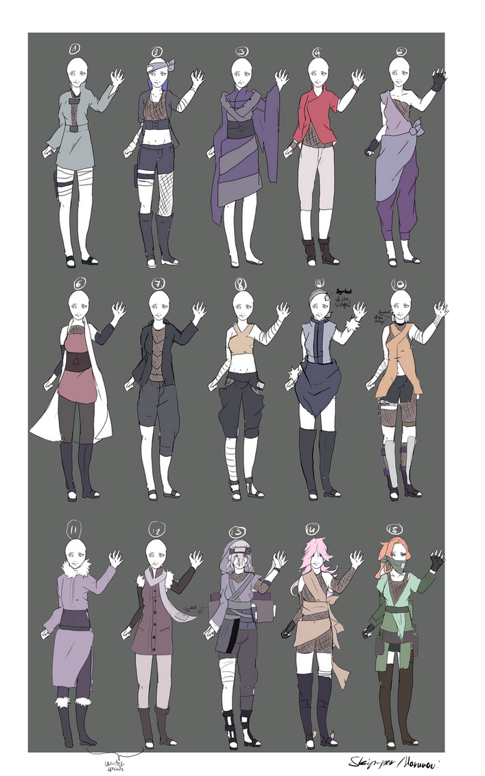Naruto Outfit Adoptables -OPEN- V.V by Skip-per on DeviantArt