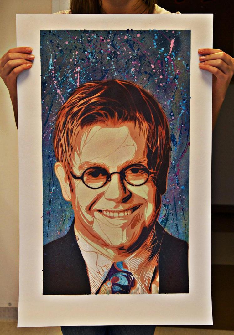 Elton John Stencil by AdomasWillKill