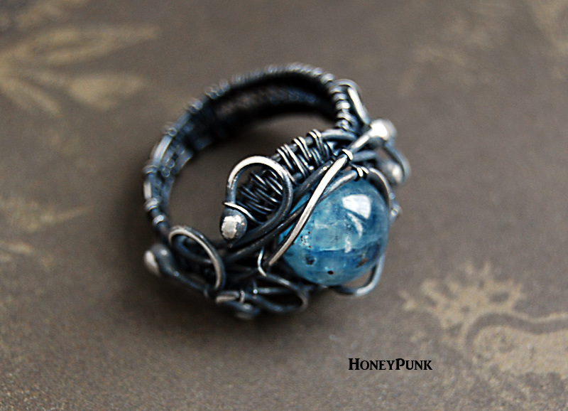 Unique rings wire wrap silver sterling with kyanite by honeypunk on  HI79
