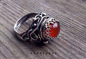 Ring silver sterling cornelian by honeypunk