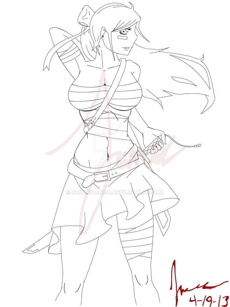 Sword girl line drawing by grimmpanda