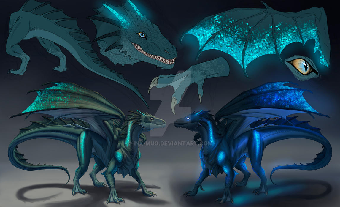 [Commission] Blue Dragon by Ink-Mug