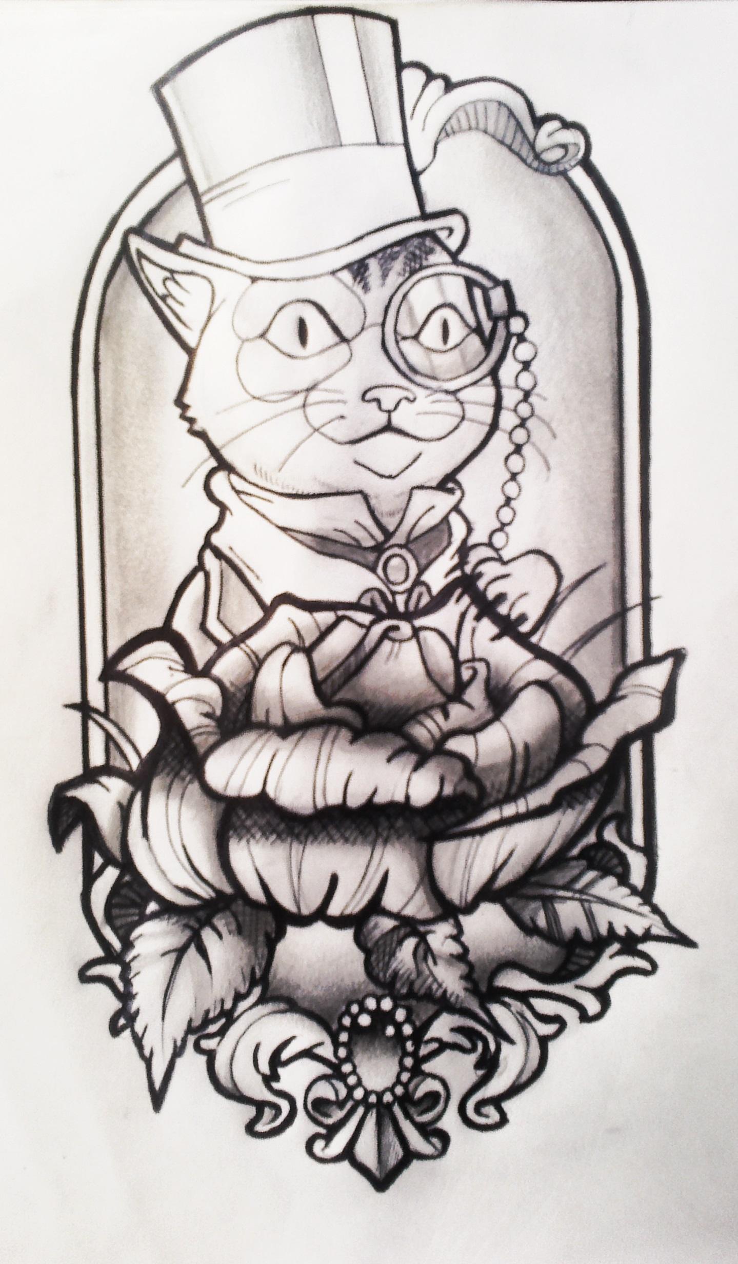 dressed cat neotraditional tattoo design by fabian alvarez sosa on deviantart. Black Bedroom Furniture Sets. Home Design Ideas