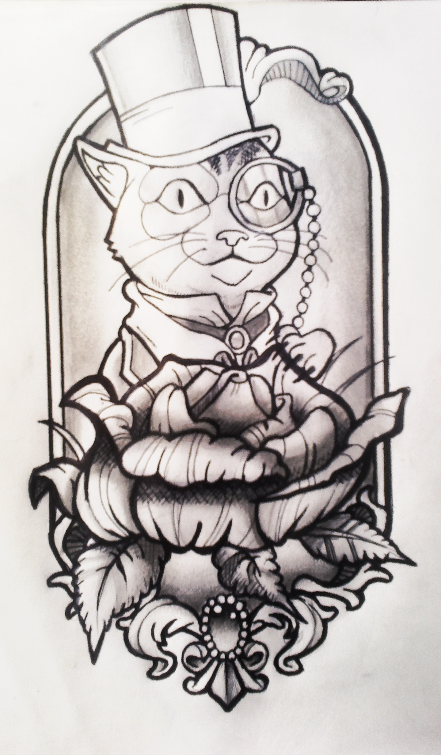 Dressed Cat Neotraditional Tattoo Design By Fabian Alvarez Sosa On