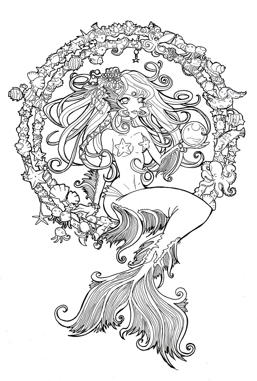 Line Drawing Jewel : Cordelia jewel of the sea line by namtia on deviantart