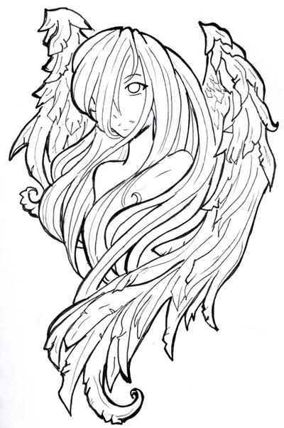 Line Drawing Angel : Tiny angel line by namtia on deviantart