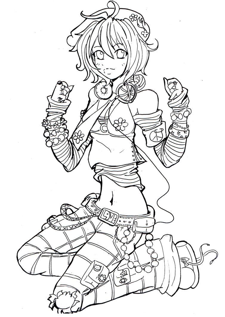 Line Art Characters : Flower power lineart by namtia on deviantart