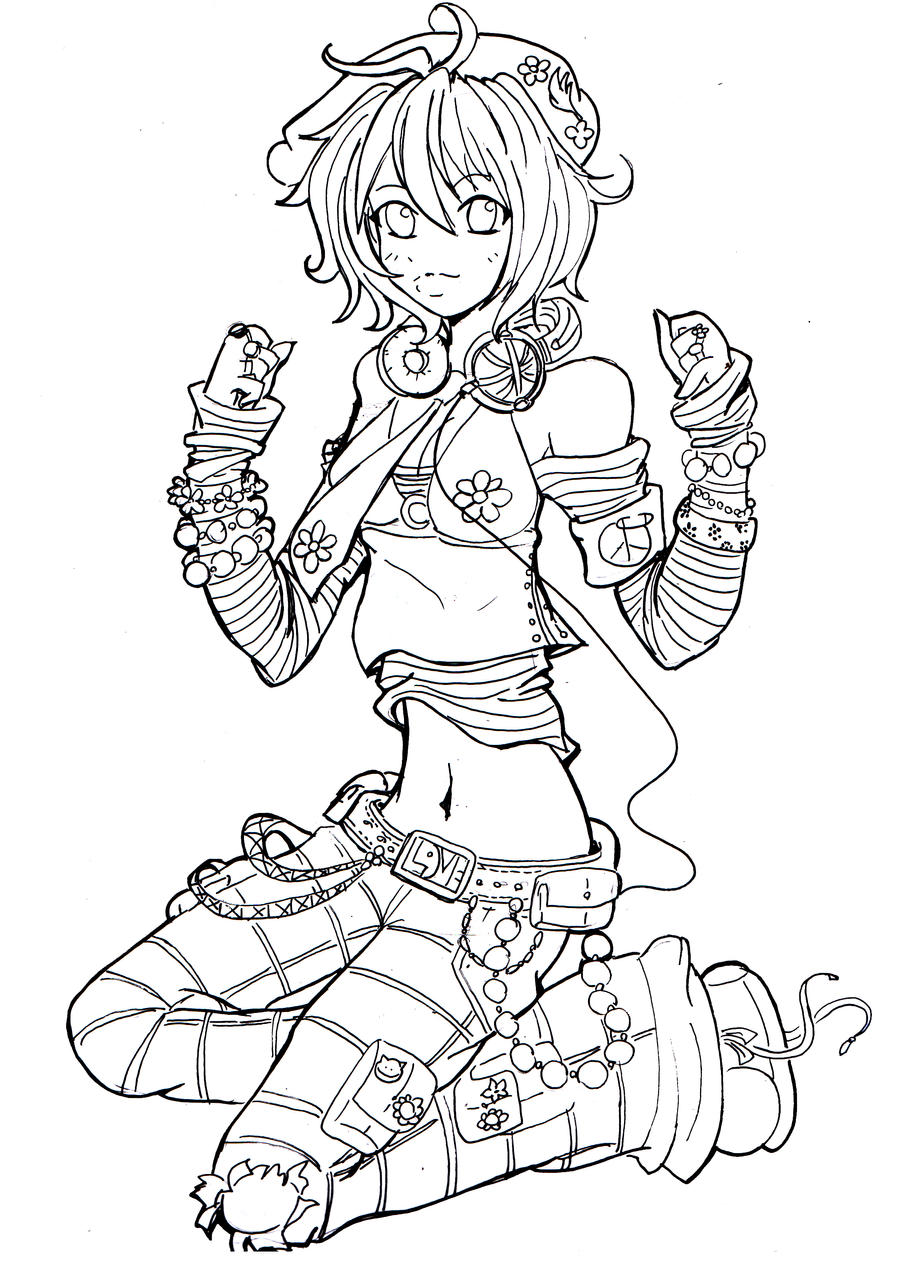 Line Art Character : Flower power lineart by namtia on deviantart