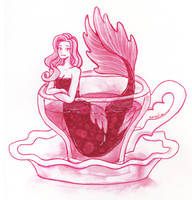 Red tea mermaid by Namtia