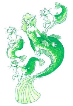 Catfish mermaid and her purrmaids