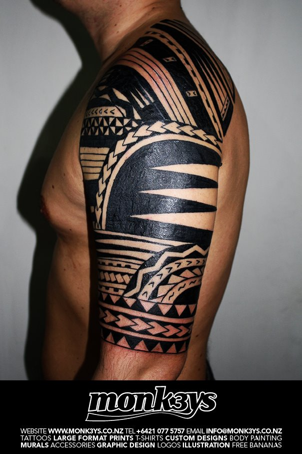 Polynesian tribal half sleeve for Polynesian tattoos sleeves