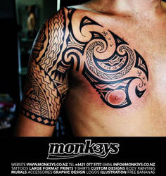 bb87a8f50 Monk3ys-Tattoos 18 11 Polynesian / Maori half sleeve and chest plate 1 by  Monk3ys-Tattoos