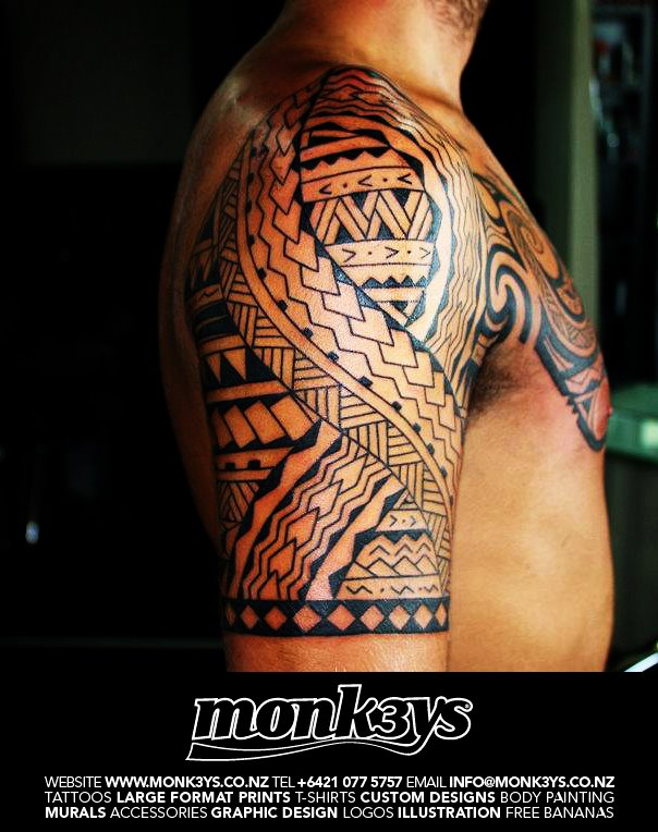 66879e1b0 Polynesian / Maori half sleeve and chest plate 3 by Monk3ys-Tattoos ...