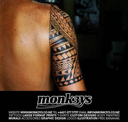 0f6c25052 Monk3ys-Tattoos 1 0 Polynesian / Maori half sleeve and chest plate 4 by  Monk3ys-Tattoos