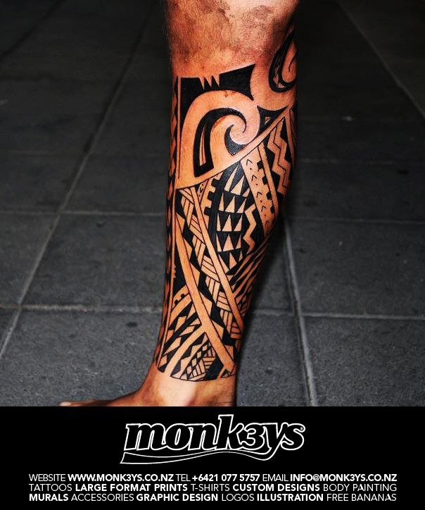 Tribal Calf Tattoo