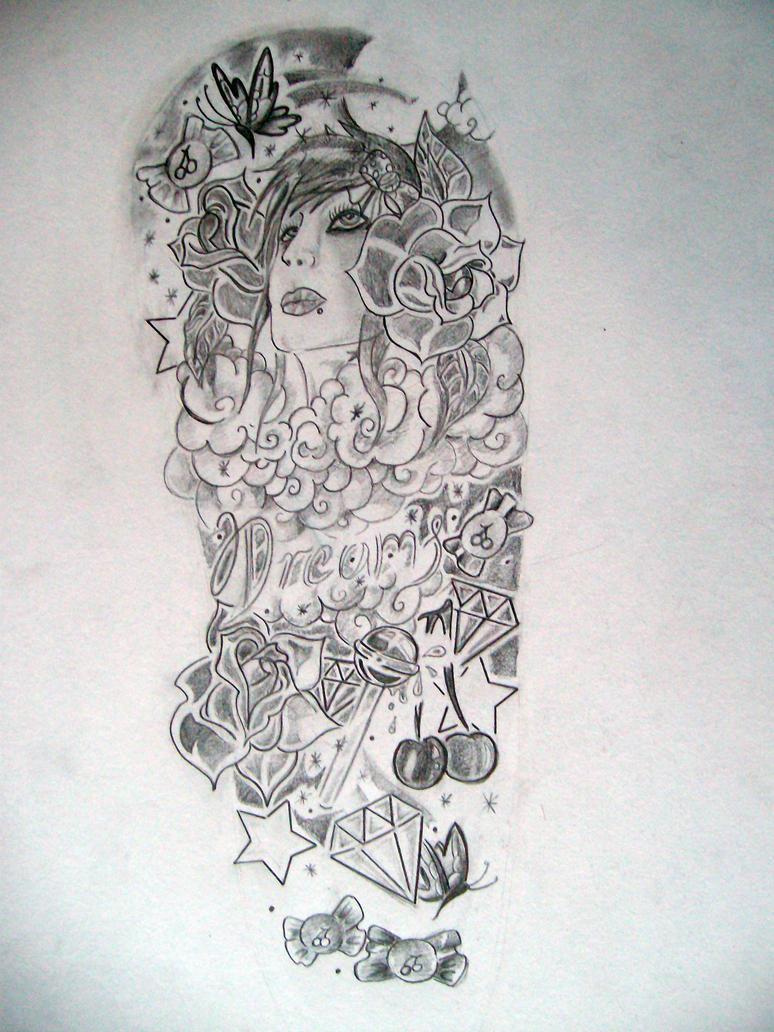 Half sleeve girl design by velocity1991 on deviantart for Half sleeve tattoo sketches