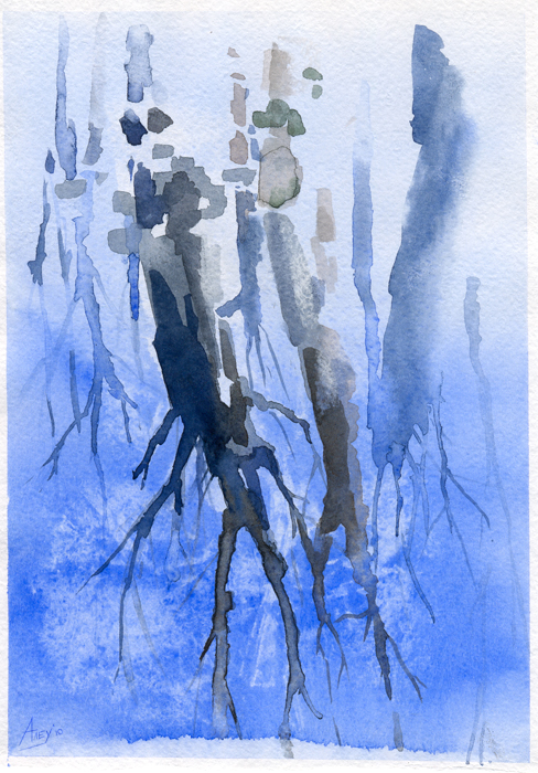 watercolor trees under water