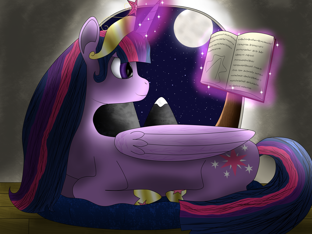 Reading Under Luna's Moon by xHardwirex