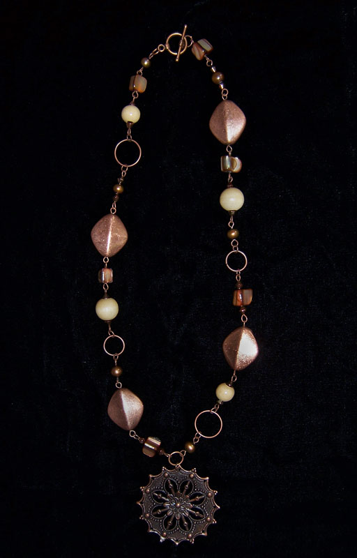 Copper mix link necklace by asukouenn