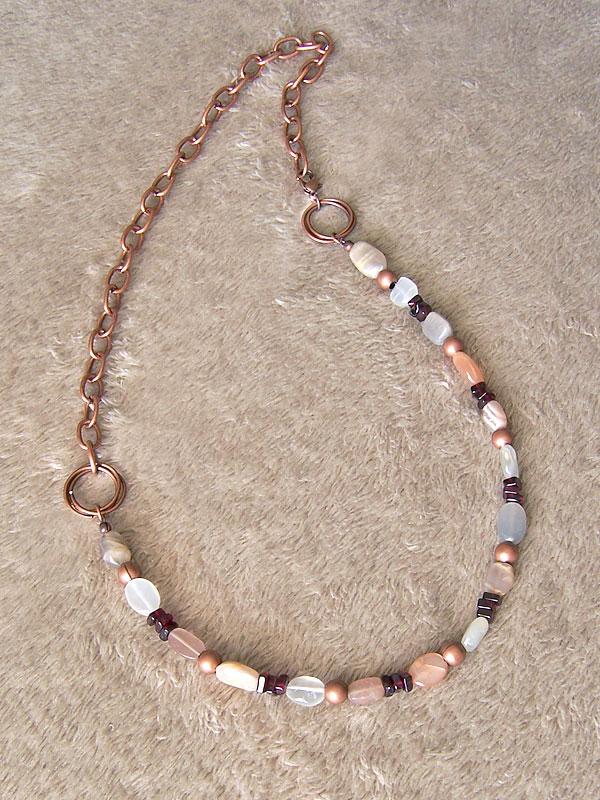 Moonstone n garnet necklace by asukouenn