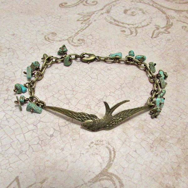 Brass bird bracelet by asukouenn