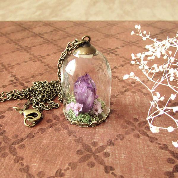 Amethyst dome terrarium necklace by asukouenn