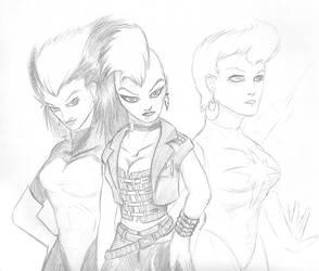 Quick Sketch 5: X-Women by sheppyboy2000