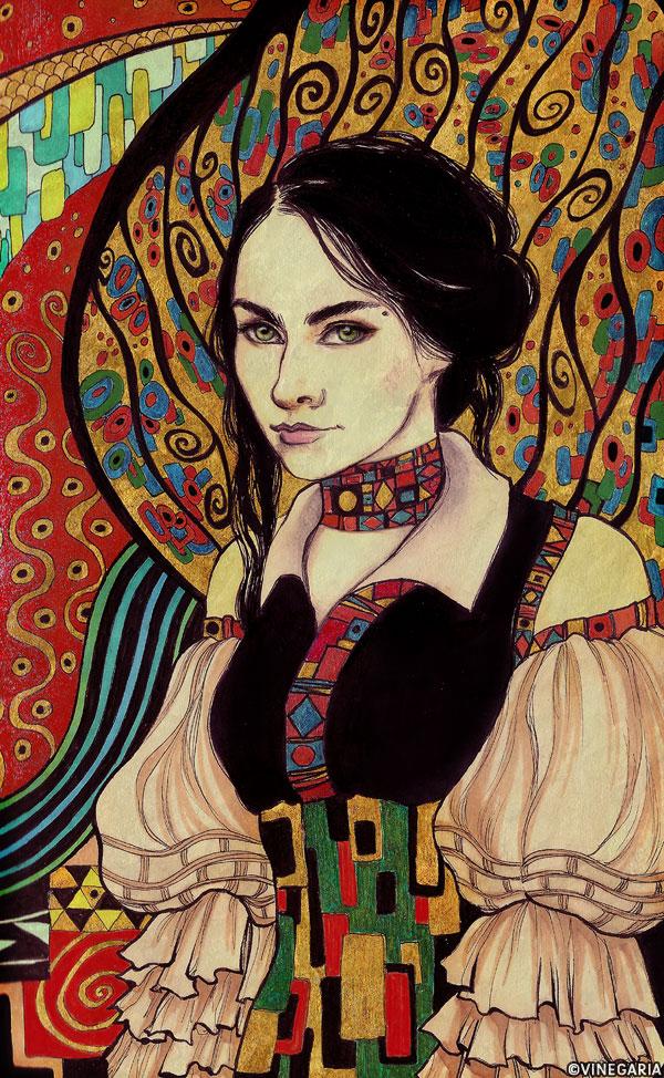 Klimt-flavored self-portrait