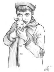 boy with a dog. by vinegar
